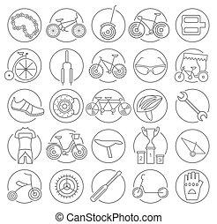 bicicleta, bicicleta, linear, set., ilustração, vetorial, desenho, magra, types., ícone