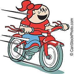 bicicleta, bicicleta que cabalga, arte, niña, o