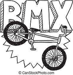 bicicleta bmx, esboço