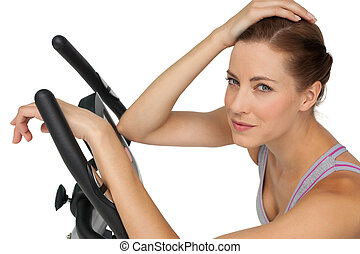 bicicleta, bonito, retrato, estacionário, mulher, close-up, jovem