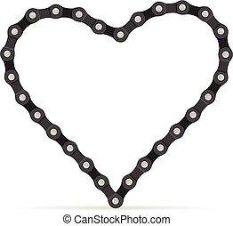 bicicleta, cadena, corazón