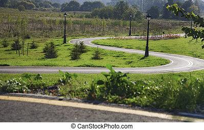 bicicleta, camino, con, horquilla, curva, en el parque