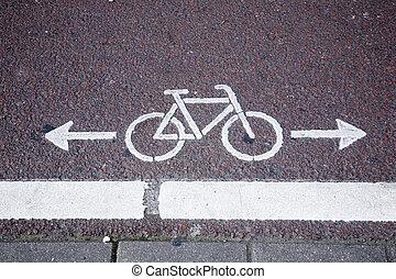 bicicleta, carril, símbolo, en, amsterdam