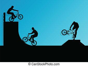 bicicleta, cartaz, ciclistas, crianças, silhuetas, ativo,...