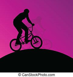 bicicleta, cartaz, ciclistas, crianças, silhuetas, ativo, desporto, cavaleiros, extremo