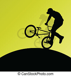 bicicleta, cartaz, ciclistas, crianças, silhuetas, ativo, ...