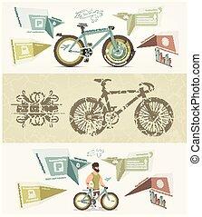 bicicleta, cartel, vector, facebook, diseño, bandera