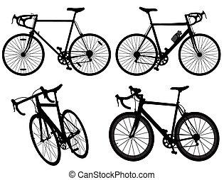 bicicleta, ciclismo, bicicleta, conjunto, colección, silueta, grupo, vector, plano de fondo, detallado, ilustración