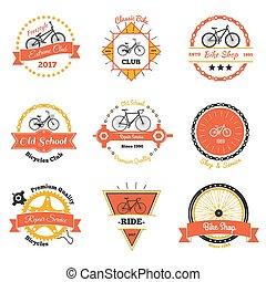 bicicleta, clube, oldschool, emblemas