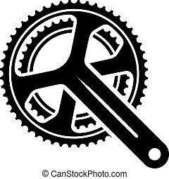 bicicleta, cogwheel, roda dentada, crankset, símbolo