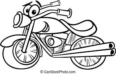 bicicleta, coloração, ou, chopper, página