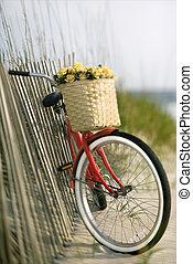 bicicleta, com, flowers.