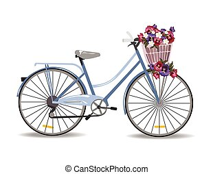 bicicleta, con, flores, aislado