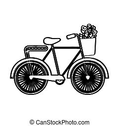 bicicleta, con, flores, dibujo