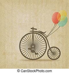 bicicleta, con, globos, retro, fondo rayado