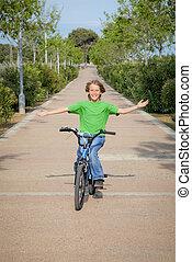 bicicleta, confiado, bicicleta, niño, equitación, o