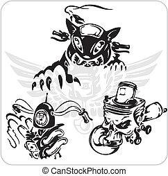 bicicleta, conjunto, vector, -, símbolo.