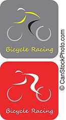 bicicleta corre, -, vetorial, ícone
