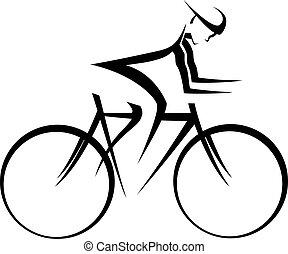 bicicleta, corredor, acento