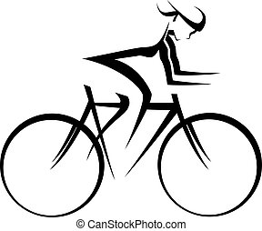 bicicleta, corredor, desenho, femininas