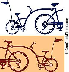 bicicleta, cycle., attachment., remolque