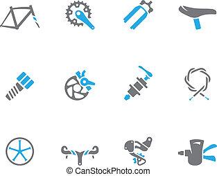 bicicleta, dúo, iconos, -, partes, tono