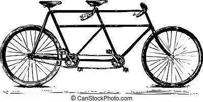 bicicleta de tandem, retro, afinó