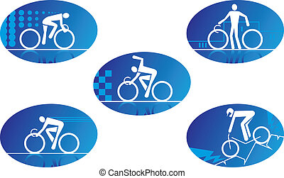 bicicleta, desporto, ícones