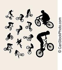 bicicleta, desporto, silhuetas