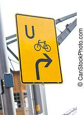bicicleta, desvío, señal