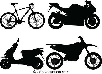 bicicleta, e, motocicleta