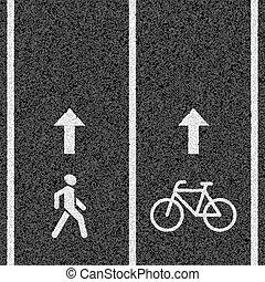 bicicleta, e, peão, caminhos