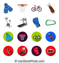 bicicleta ejercicio, noria, guante, boxeador, lock., deporte, conjunto, colección, iconos, en, caricatura, estilo, bitmap, símbolo, ilustración común, web.