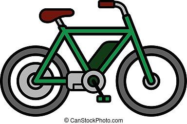bicicleta, eléctrico, e-bike, fondo verde, blanco
