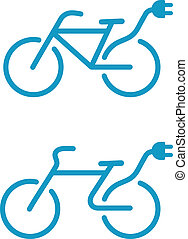 bicicleta, elétrico, ícone