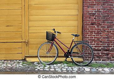 bicicleta, em, counryside, rua