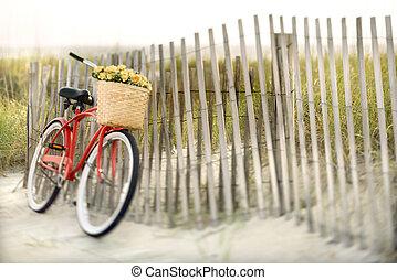 bicicleta, en, playa.