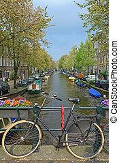 bicicleta, en, un, puente, en, amsterdam