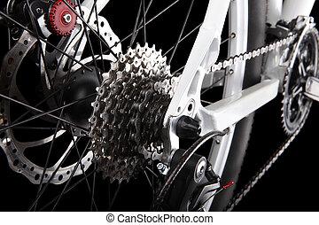 bicicleta, engranajes, y, trasero, derailleur