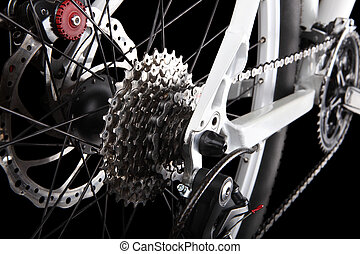 bicicleta, engrenagens, e, parte traseira, derailleur