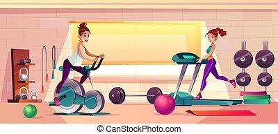 bicicleta, entrenamiento, gimnasio, vector, plano de fondo, ...