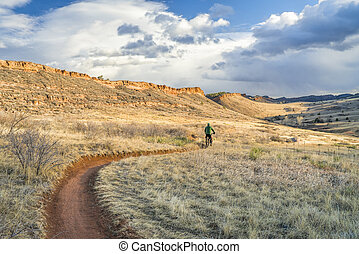 bicicleta equitação, colorado, gorda, foothills