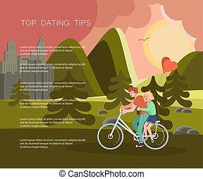 bicicleta equitação, feliz, caráteres, pessoas