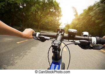 bicicleta equitação, floresta, rastro