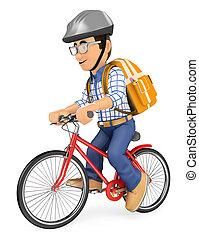 bicicleta, escola, jovem, ir, estudante, 3d