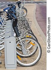 bicicleta, estación, alquiler