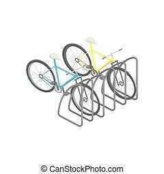 bicicleta, estacionamento, isometric, vetorial, ilustração