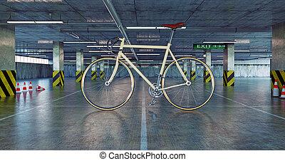 bicicleta, estacionamiento