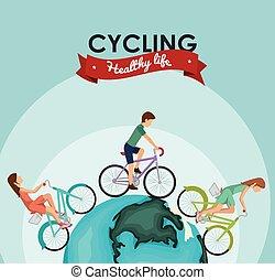bicicleta, estilo vida, desenho