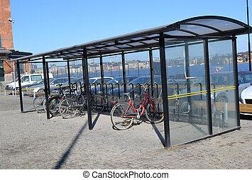 bicicleta, Estocolmo, estacionamiento